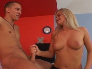 Co-ed blonde strokes off her classmate after class